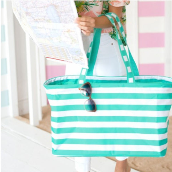 Mint Stripe Ultimate Tote