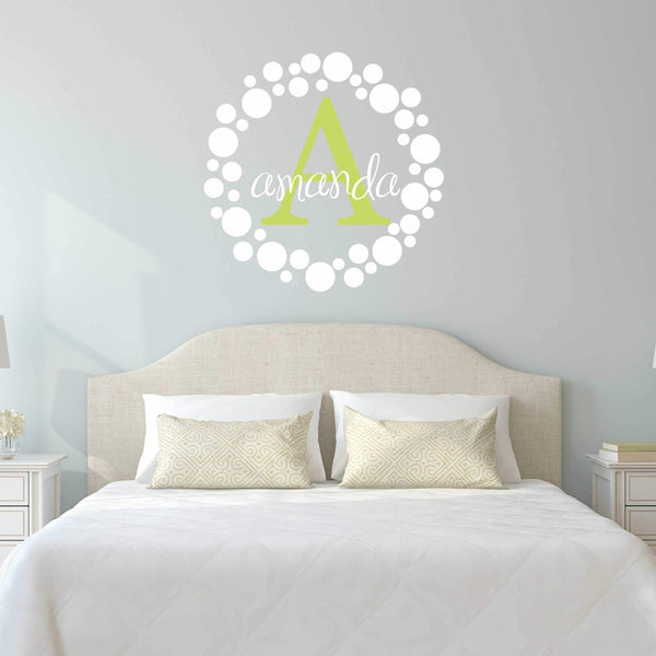 Name with Dot Frame Wall Decal