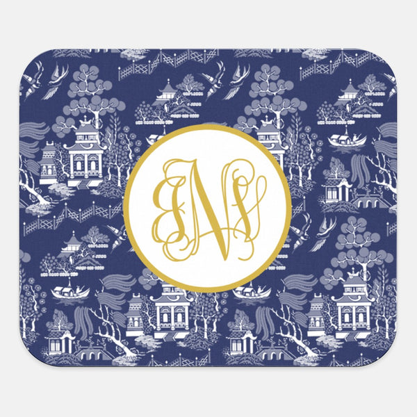 Custom Navy Chinoiserie Mouse Pad