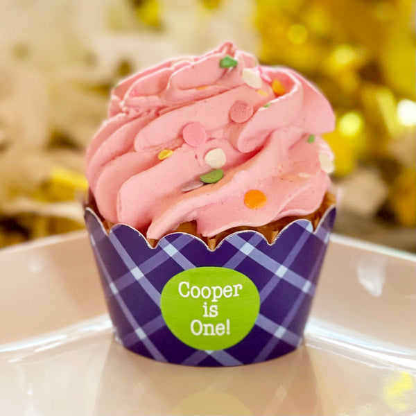 Navy Plaid Cupcake Wrappers