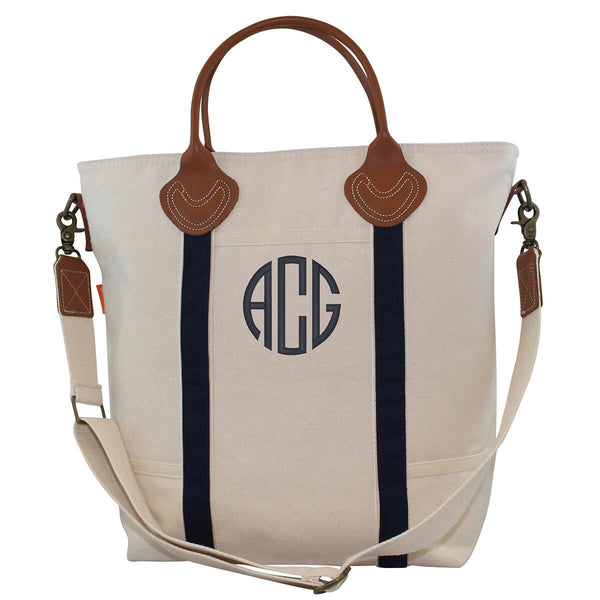 Navy Canvas Monogram Shoulder Tote
