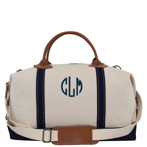 Navy Canvas Monogram Weekender Bag