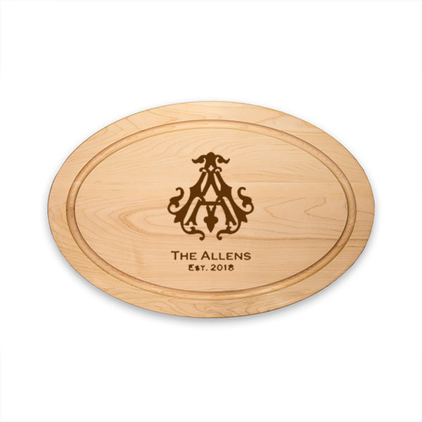 Premium Oval Cutting Board - Choose Engraving Style