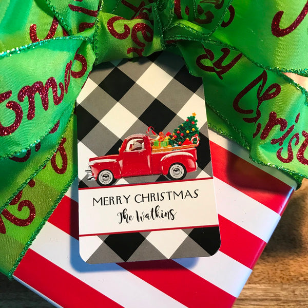 Santa's Red Truck Gift Tags