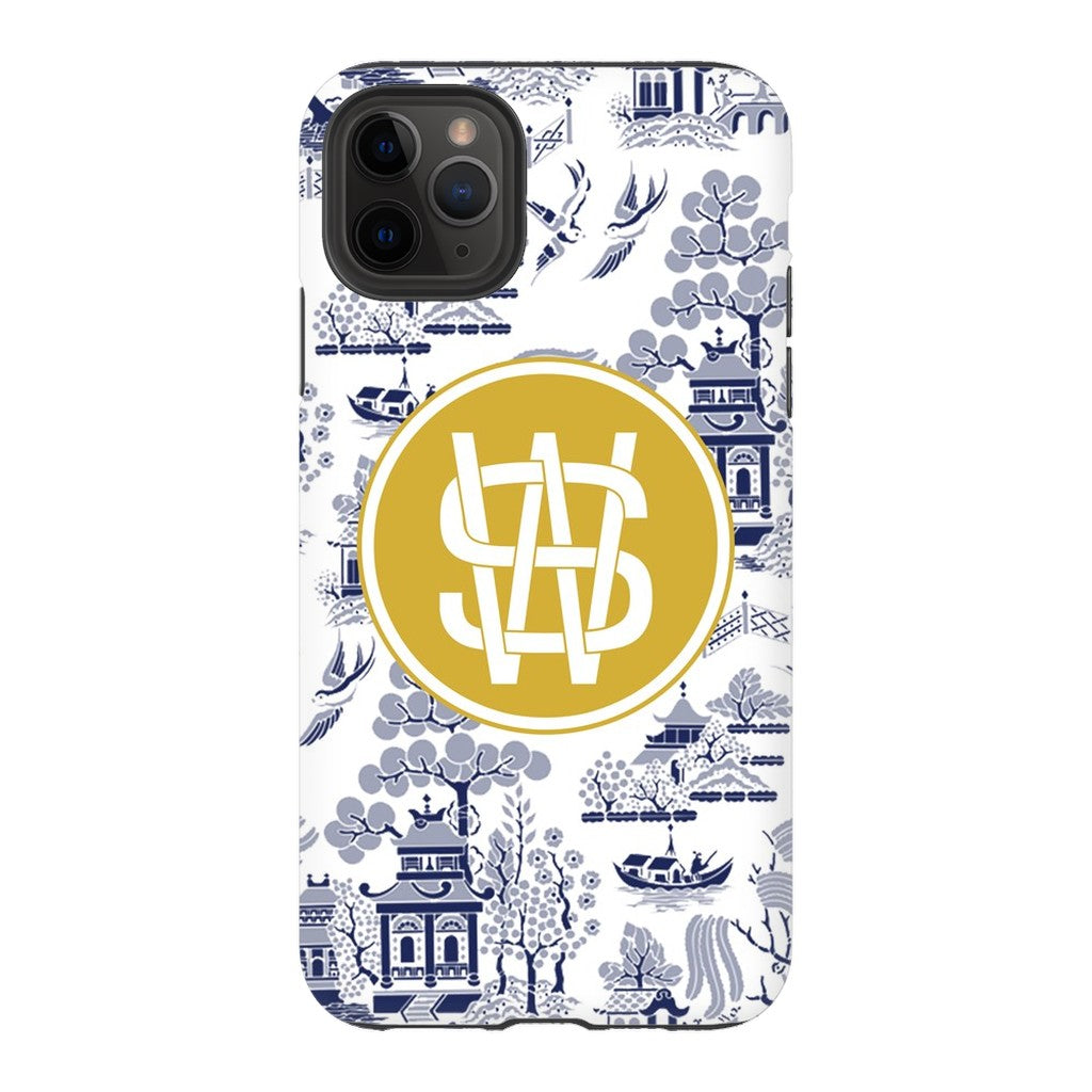 Custom Reverse Navy Chinoiserie Phone Case