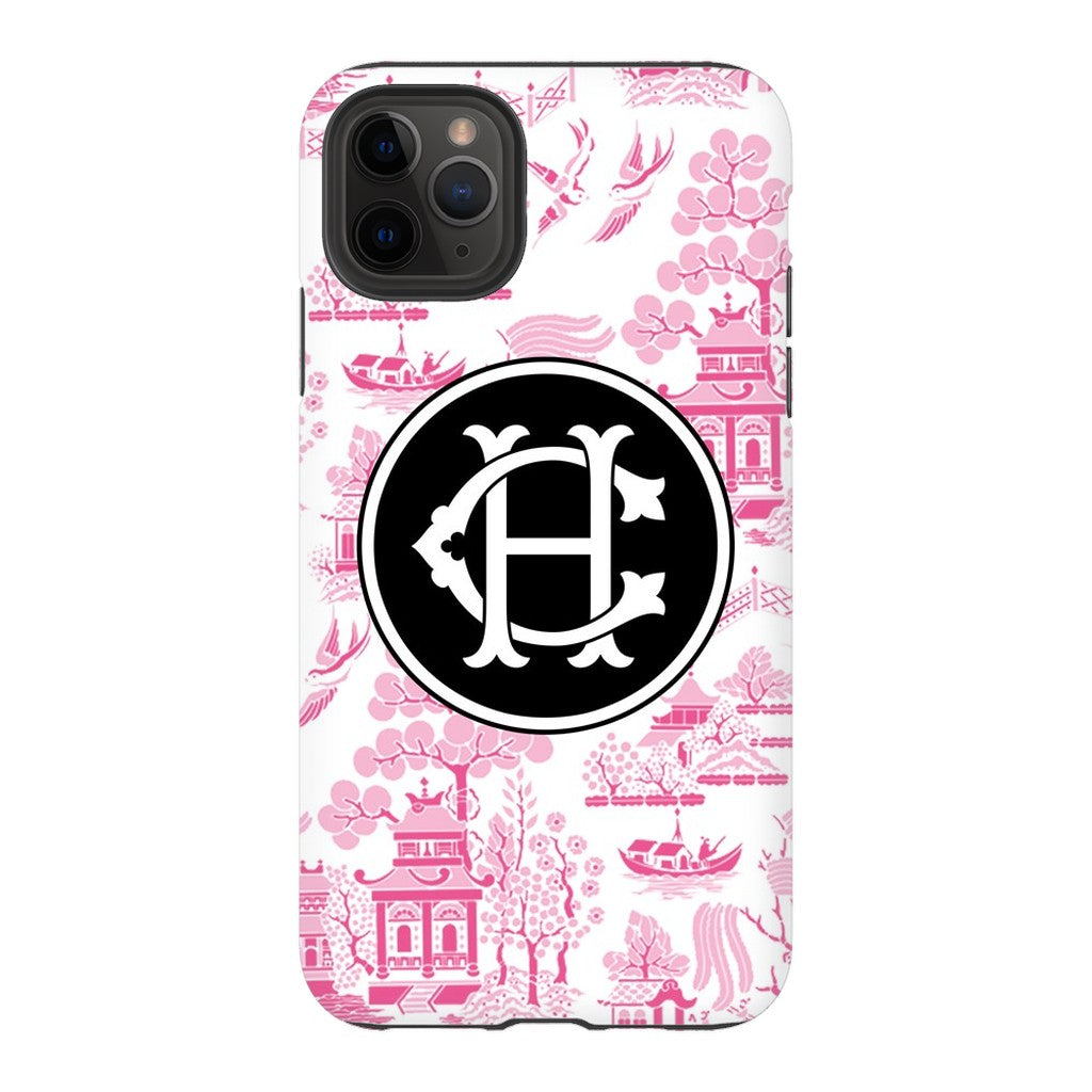 Reverse Pink Chinoiserie Phone Case - Choose Accent Color