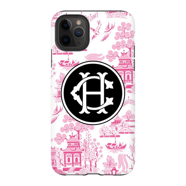 Custom Reverse Pink Chinoiserie Phone Case
