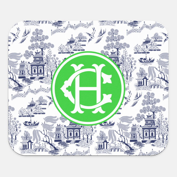 Custom Reverse Navy Chinoiserie Mouse Pad