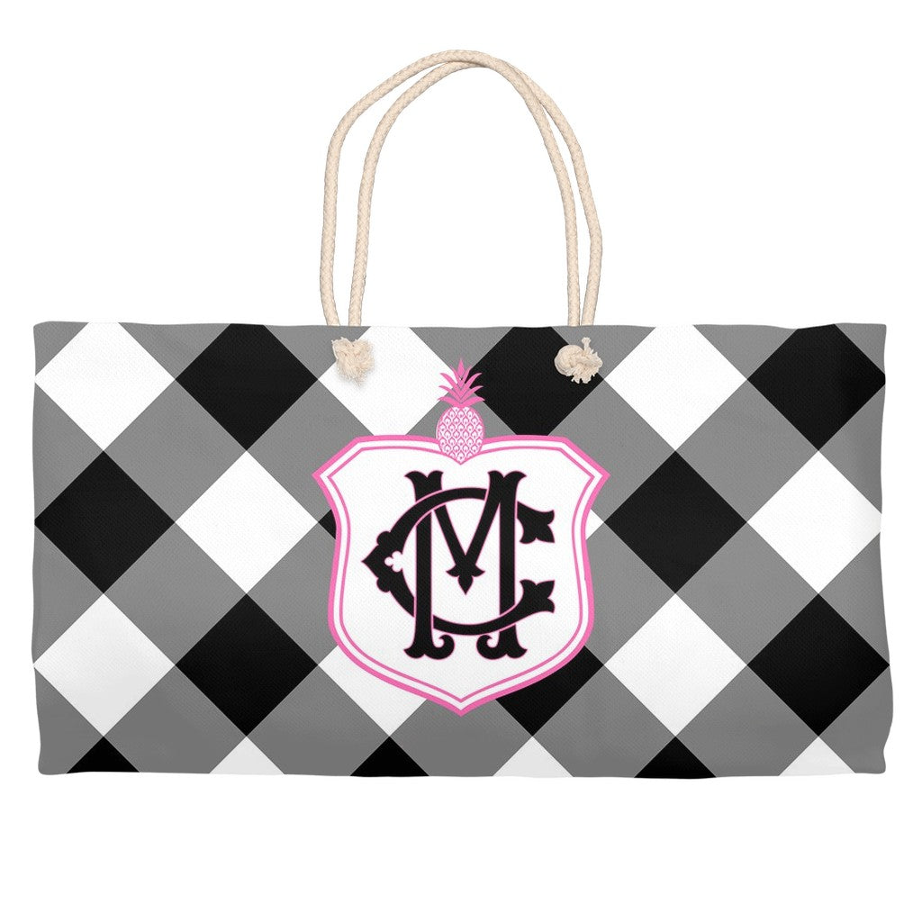 Black Gingham Monogram Tote