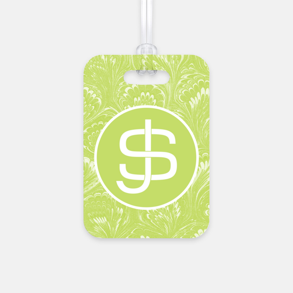 Green Marbled Luggage Tag
