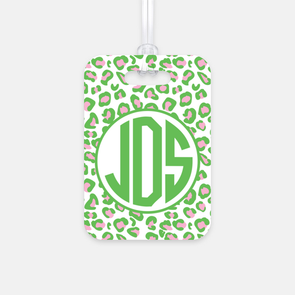 Green & Pink Leopard Luggage Tag