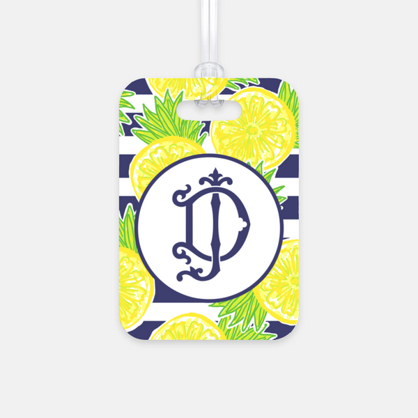 Lemon Stripe Luggage Tag