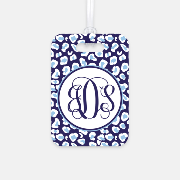 Navy Leopard Luggage Tag