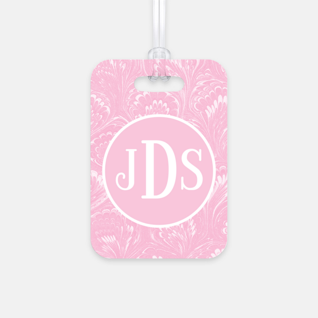 Pink Marbled Luggage Tag