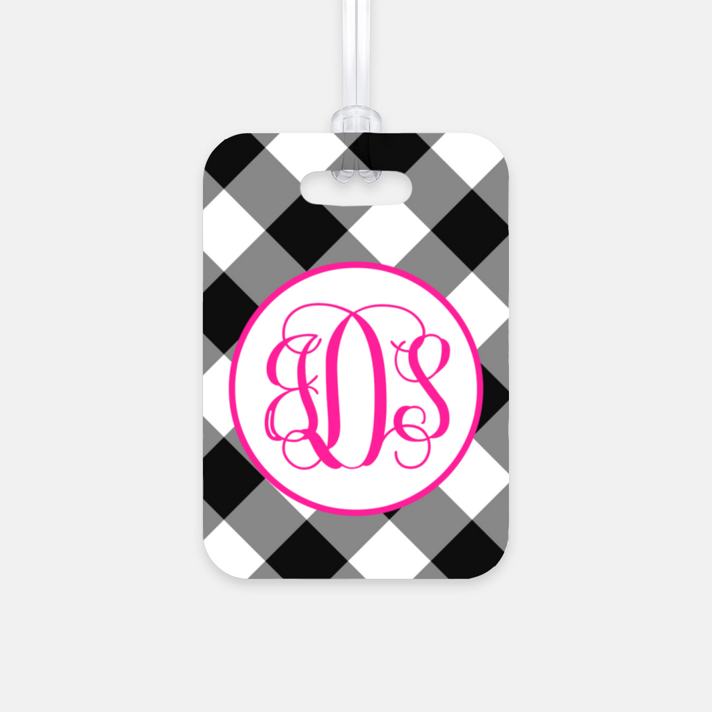 Custom Gingham Luggage Tag