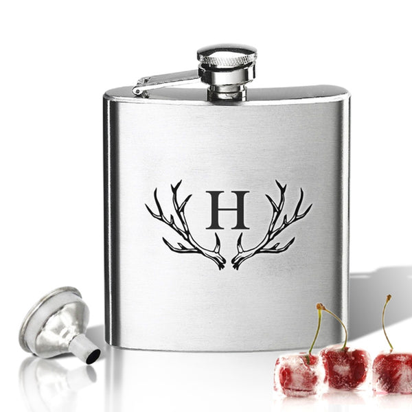 Antler Initial Stainless Steel Hip Flask