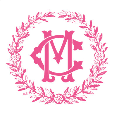 Pink Summerville Monogram Square or Round Stickers