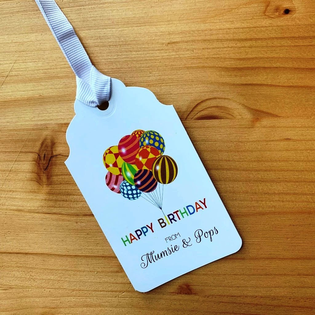 Happy Birthday Balloons Gift Tags