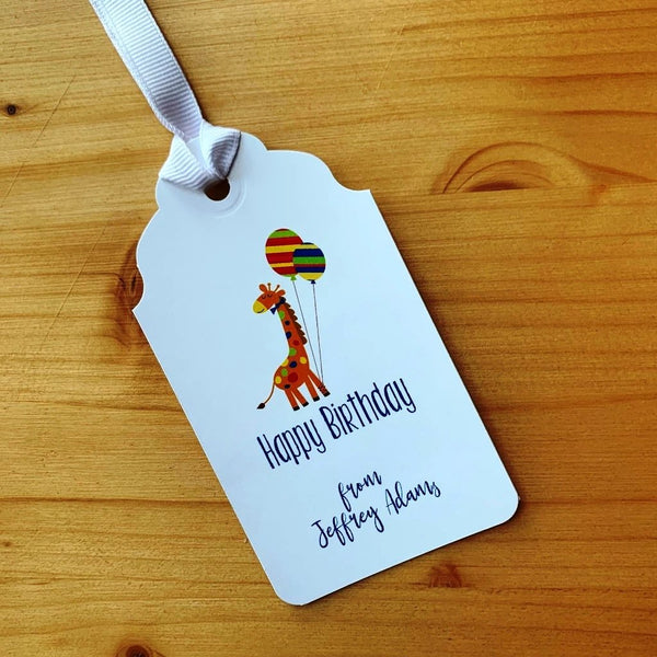 Happy Birthday Balloon Giraffe Gift Tags