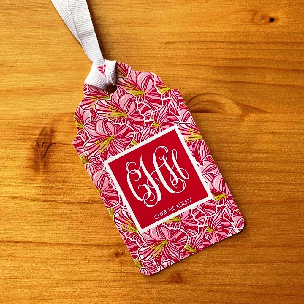 Hibiscus Monogram Gift Tags