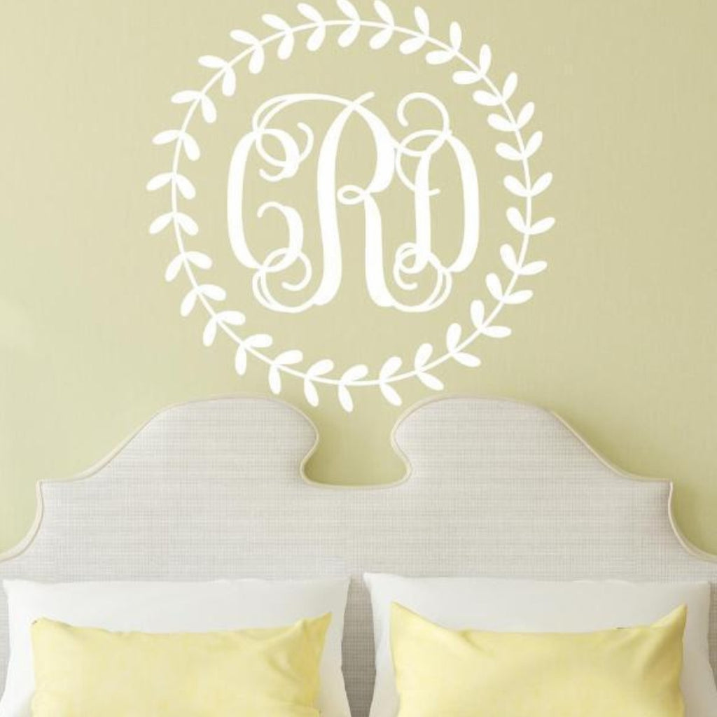 Vine Wreath Script Monogram Decal