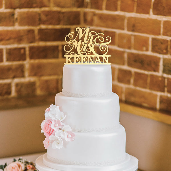 Script Mr. & Mrs. Wedding Cake Topper