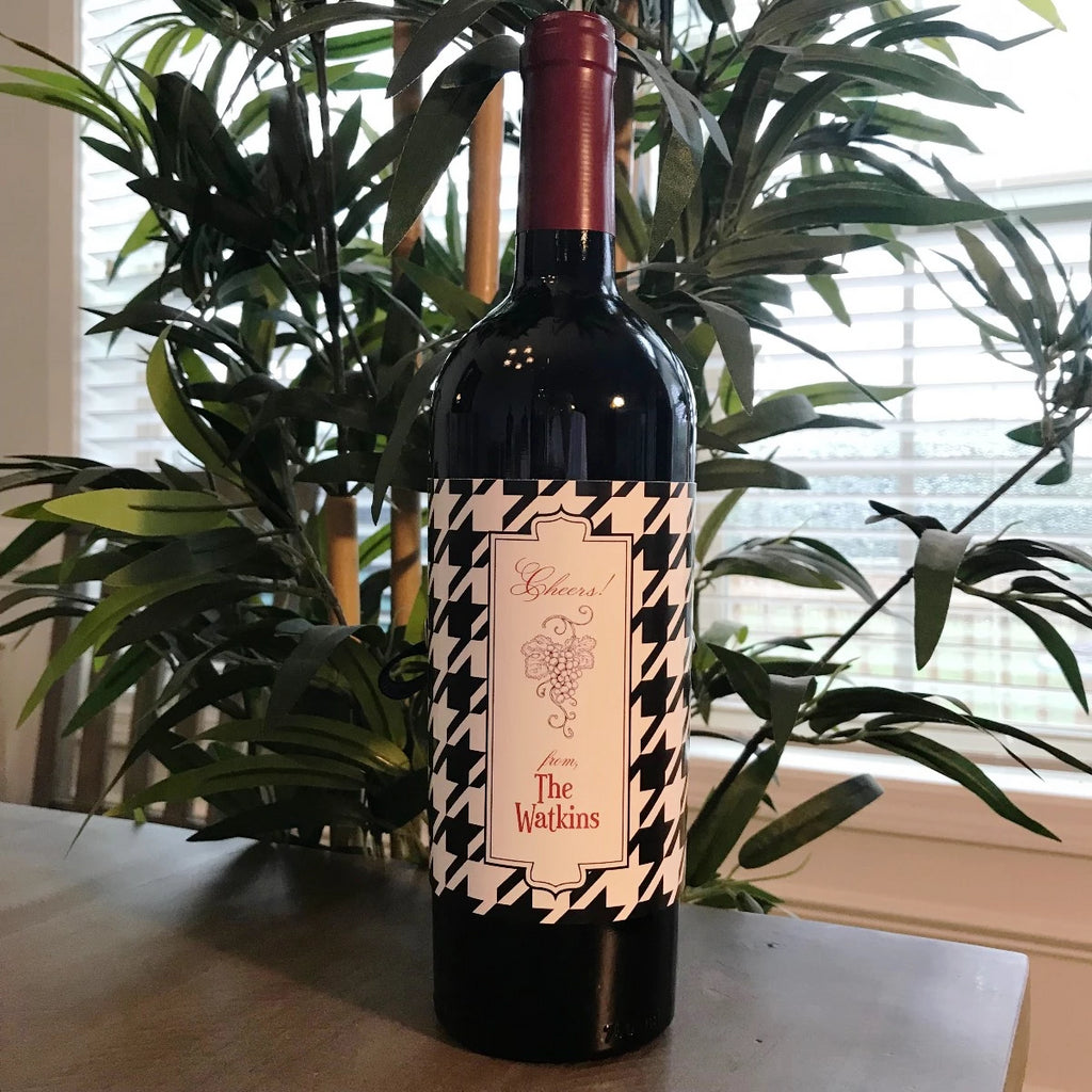 Personalized Houndstooth Wine Wraps