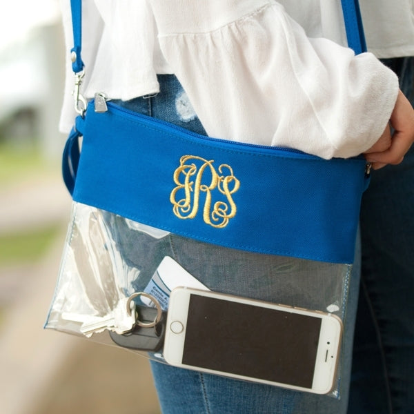 Royal Blue Stadium-Friendly Clear Cross Body Clutch