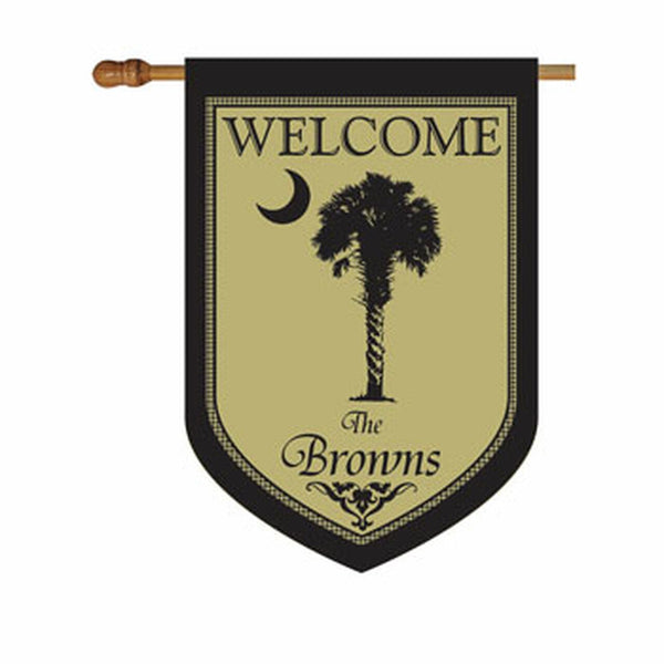 Premium Black Palmetto House or Garden Flag