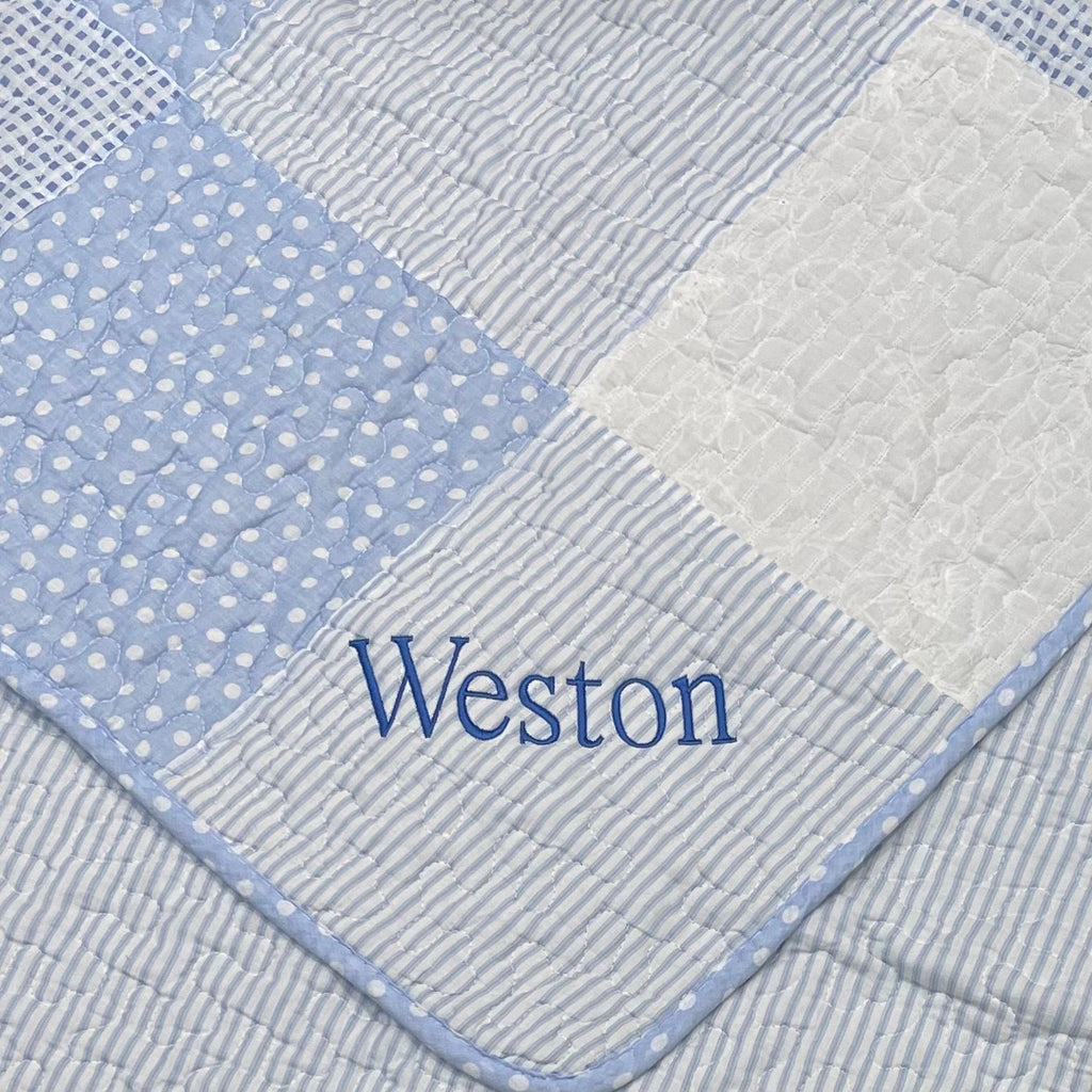 Personalized Blue Baby Quilt