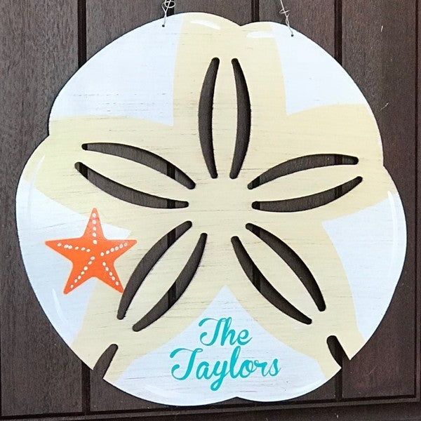 Sand Dollar Metal Door Hanger or Yard Stake