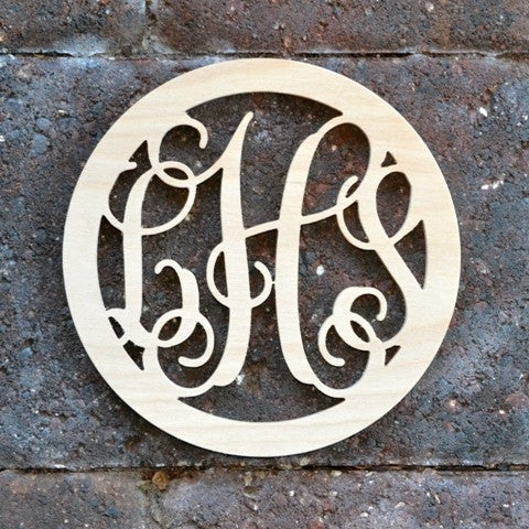Wood Script Monogram Border Circle