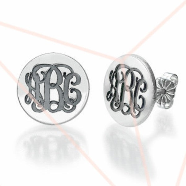 Sterling Silver Stud Monogram Earrings