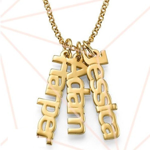 Petite Gold Plated Vertical Name Necklace