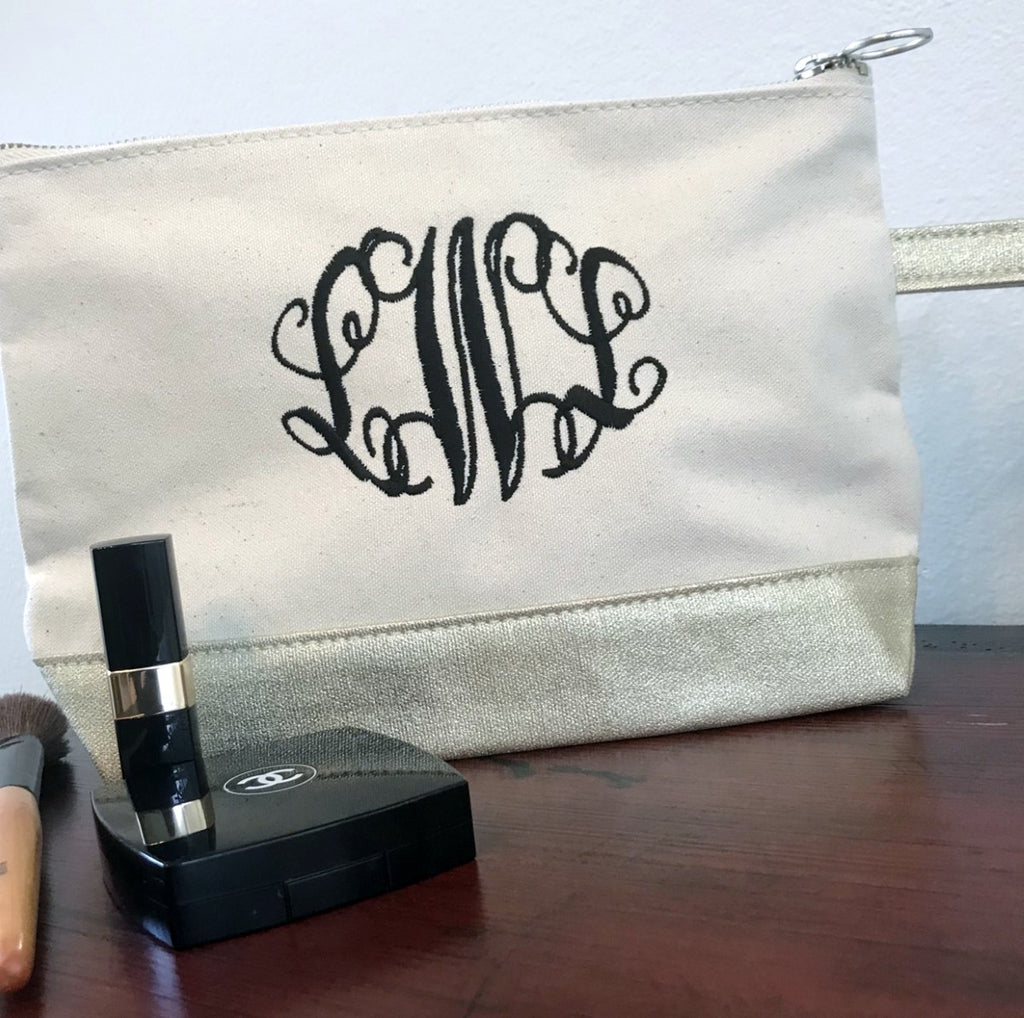 Metallic Gold and Canvas Pouch, Monogram Cosmetic bag