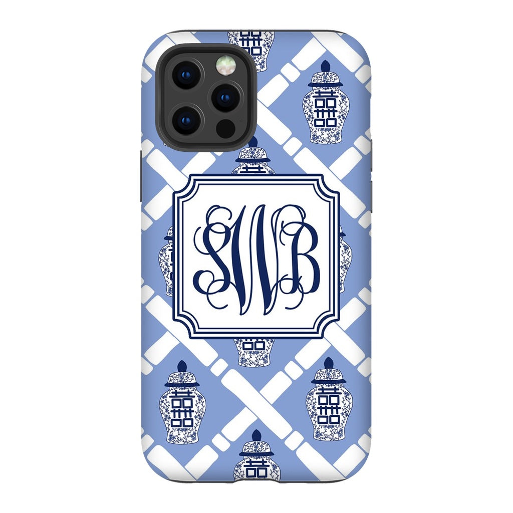 Blue Bamboo Ginger Jar Phone Case