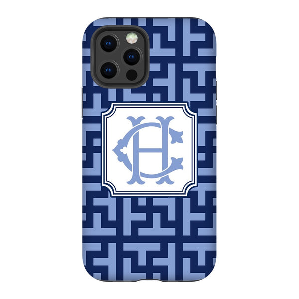 Cornflower & Navy Graphic Tile Phone Case