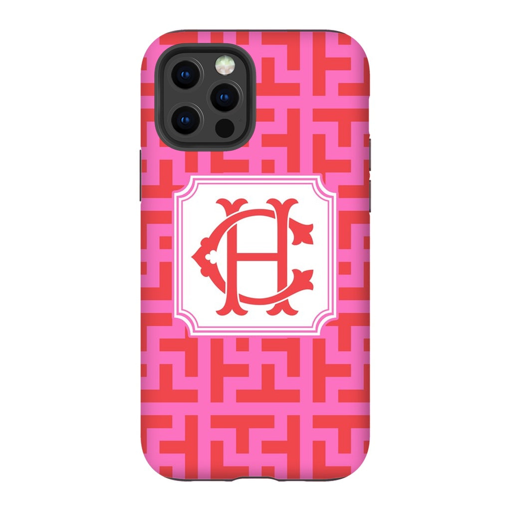 Red & Pink Graphic Tile Phone Case