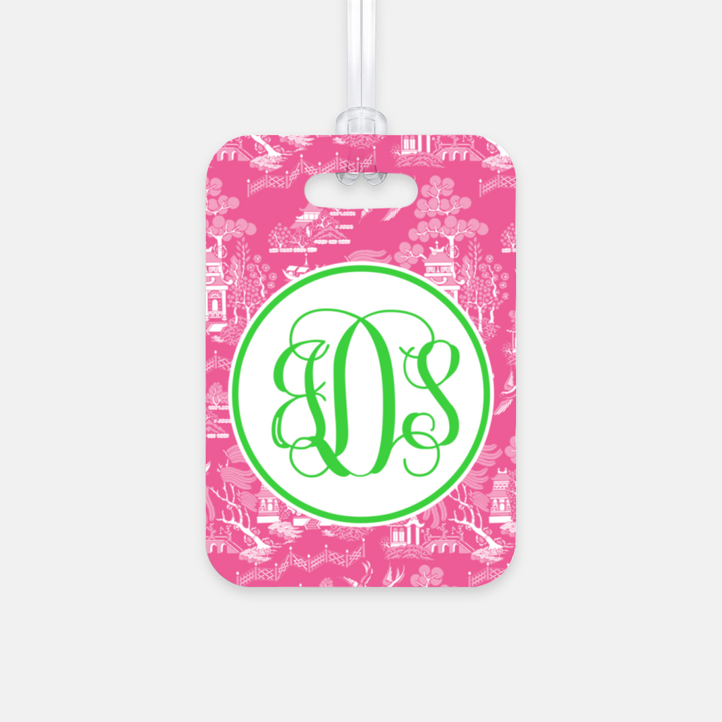 Pink Chinoiserie Luggage Tag