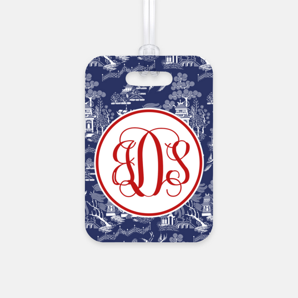 Navy Chinoiserie Luggage Tag