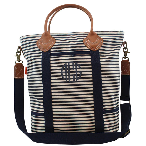 Navy Stripe Canvas Shoulder Tote