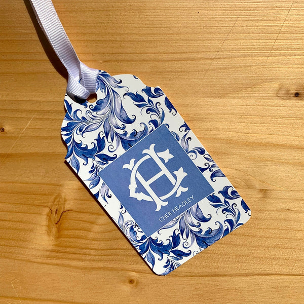 Blue Swirl Monogram Gift Tags