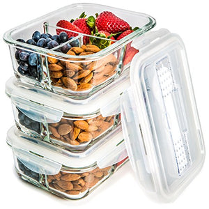 [3 Pack] Glass Meal Prep Containers 3 Compartment   Food Storage Container  Set