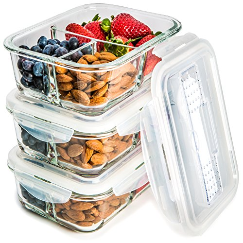 3 Pack Glass Meal Prep Containers 3 Compartment Food Storage