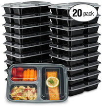 [20 Pack] 32oz 3 Compartment Meal Prep Containers with Lids - Durable BPA Free Plastic Reusable Food Storage Container - Stackable, Reusable, Leak Resistant, Microwaveable & Dishwasher Safe