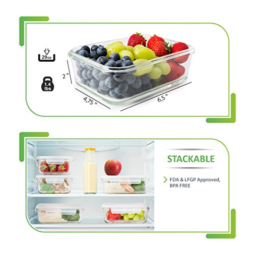 5 Pack Glass Meal Prep Containers Food Prep Containers with Lids