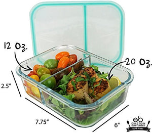 [3-Pack] New 2018 Design - 2 Compartment Watertight Glass Meal Prep Food Storage Containers - Portion Control for Keto, DASH and Mediterranean Diet - BPA Free - Free Keto Cookbook Sample