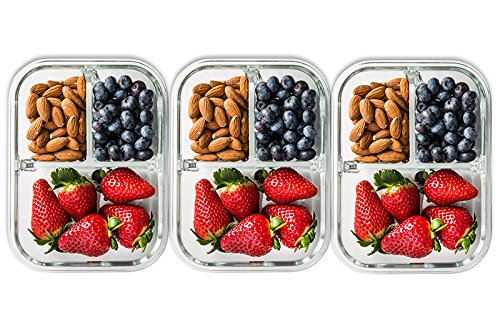 3 Pack Glass Meal Prep Containers 3 Compartment Food