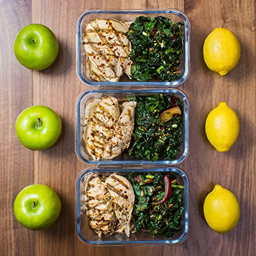 3 Pack Glass Meal Prep Containers Glass Glass Food