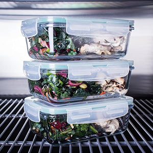 [3-Pack] Glass Meal Prep Containers Glass - Glass Food Storage Containers - Glass Storage Containers with Lids - Glass Lunch Containers Food Container - Glass Food Containers - BPA Free Container Set